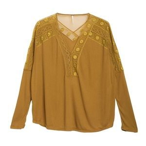 Free People Embroidered Ribbed Long Sleeve Top XS